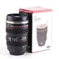 Wholesale Lighted Coffee Cup - Camera Lens Mug 400ml Creative Portable Stainless Steel Cups Travel Vacuum Flask Milk Coffee Mug Novelty Cups Wholesale 0703071