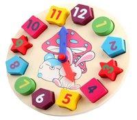 ingrosso orologio digitale geometrico in legno-Nuovi blocchetti dell'orologio della geometria di Digital dei giocattoli del bambino di legno
