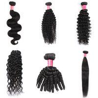 Wholesale yaki human hair deep wave for sale - Group buy Yaopoly Bundles inch Bralzilian Human Hair Loose Wave Yaki Straight Deep Curly Body Wave Straight Natural Black