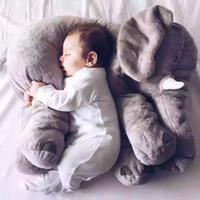 karikatür çocuklar uyku toptan satış-Karikatür 60 cm Büyük Peluş Fil Oyuncak Çocuklar Uyku Geri Yastık dolması Yastık Fil Bebek Bebek Bebek Doğum Günü Hediyesi Çocuklar için