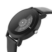 современные женские часы оптовых-Unique Round Dial Stylish Hot Leather Strap Modern Quartz Fashion Turntable Women Men Special Design Wrist Watch Trendy Gift