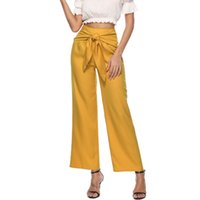 Wholesale slim leg trousers for women resale online - Bow Lace Up Pants New Women Lady Fashion Long Slim Trousers For Women Casual Wide Leg PantsElastic Waist Pants Black Yellow