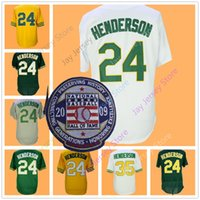 Wholesale Henderson Baseball - Rickey Henderson Jersey with 2009 Hall Of Fame Patch 24 35 Oakland Jerseys Flexbase Cool Base Throwback Vintage White Green Yellow Home Away