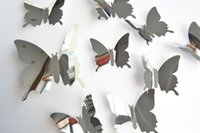 Wholesale acrylic bathroom set - 3D Butterfly Wall Sticker mirror wall stickers Home Decor DIY silver butterfly Carved bedroom Removable 12pcs set Stickers 2018 in stock