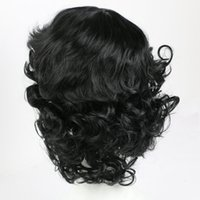 Wholesale Wig Black Cosplay Men - Black Wavy Synthetic Hair Wigs for Women Men Natural Style Heat Resistant Full Hair Wigs Party Daily Cosplay Wig African American Curly Wigs