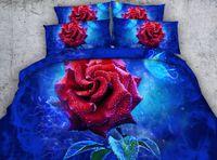 fundas de almohada amarillas al por mayor-3D azul se levantó funda nórdica sistemas del lecho de flores flores colchas de vacaciones cubiertas del edredón Sábanas fundas de almohada flores amarillas fundas de almohadas