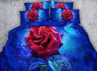 edredons de edredon amarelo venda por atacado-azul 3D levantou-se edredon cobrir florais conjuntos de cama flores Colchas férias Quilt Covers Lençois Fronhas flores amarelas fronhas de almofadas