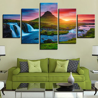 Wall Art Canvas Prints Immagini 5 Pezzi Beautiful Iceland Waterfall Paintings Green Mountain River Landscape Poster Home Decor
