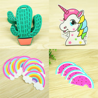 Wholesale lovely tags resale online - Multi Style Cartoon Silicone Luggage Tag Cute Lovely Creative Unicorn Travel Suitcase Tags Fun Mini Colorful Cactus Label Hot Sale zx ZY