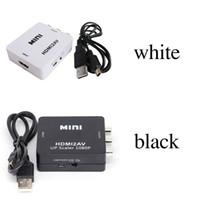 mini hdmi2av vidéo achat en gros de-2018 Adaptateur vidéo HD HDMI2AV 1080P mini HDMI vers convertisseur AV CVBS + L / R HDMI vers RCA pour Xbox 360 PS3 PC360 Avec emballage de vente au détail