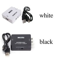 xbox hd mini al por mayor-Adaptador de video HD 2018 HDMI2AV 1080P mini HDMI a AV Converter CVBS + L / R HDMI a RCA Para Xbox 360 PS3 PC360 Con embalaje al por menor