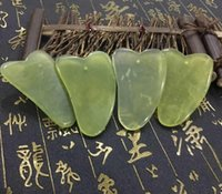 Wholesale gua sha massage board - Natural Gua Sha Board Green Jade Stone Guasha Cure Acupuncture Massage Tool Body Face Relaxation Beauty Health Care Tool