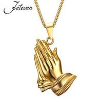 collar de mano de buda al por mayor-Nuevos Hombres Tono Dorado Bling Oración Oración Mano de Buda Colgante Afortunado Collares Aleación Joyería Hip Hop Con 60 cm Cadena de Eslabones