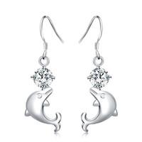 ювелирные изделия с дельфинами оптовых-New Fashion 925 Silver Cute Dolphin Shape Earring for Women Popularity Jewelry For Women Dangle Earring Sales