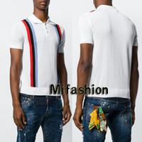 Wholesale polo shirt long sleeve men - 18ss Summer Europe Italy Cotton Striped Polo Fashion Men Luxury High Quality Star Classic Polo Casual Women Tee T-shirt