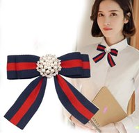 Wholesale Rhinestone Brooches For Dresses - 2Pcs 2018 Fabric Bow Brooches for Women Necktie Style Brooch Pin Wedding Dress Shirt Brooch Pin Handmade Accessories Good Gift