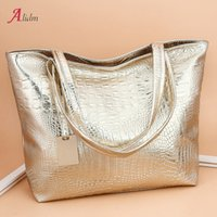 мешки аллигатора золото оптовых- Women Alligator Leather Handbags Fashion Silver And Gold Shoulder Bag Large Ladies Hand Bags Designer Sac A Main