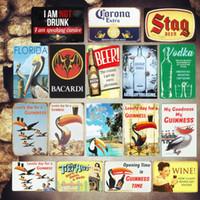 ingrosso contenitori pubblicitari d'epoca-Targa Guinness Metallo vintage Targa in metallo Bar Piatti decorativi da pub VODKA Adesivi murali Corona Ferro Poster Birra Targa pubblicitaria