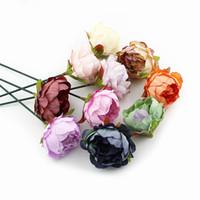 dekoratif yapay çiçek çelenk toptan satış-5 cm Şakayık Çiçek Başkanı Ipek Yapay Çiçekler Düğün Dekorasyon için Diy Dekoratif Çelenk Sahte Çiçekler 10 Adet / grup