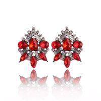 perno de lágrima al por mayor-Cluster Crystal Teardrop Flower Design Stud Pendientes Joyería de moda para mujeres Regalos del día de San Valentín de Navidad