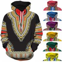 mavi sarı hoodie toptan satış-Spandex Bazin Riche Geleneksel Baskı Kazak Afrika Dashiki Hoodie 3D Desen Kırmızı Sarı Mor Siyah Turuncu Mavi Yeşil