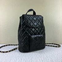 Wholesale Cover School - top Quality Famous designer brand new Genuine Leather lambskin pocket chain quilted double shoulder backpack school bag purse