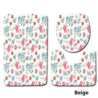 Wholesale U Shaped Seating - Flamingo Pattern 3 Pieces  Set Toilet Seat Cover Rugs U Shape Floral Bathroom Small Carpet Floor Feet Printed Bathmats