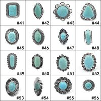Wholesale woman ring design gemstone - New 152 Designs Turquoise Rings Punk Style Natural Stone Rings Costume Gemstone Ring Jewelry for Women Men