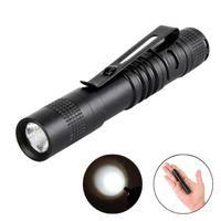 Wholesale fish cave - Wholesale Free DHL Mini LED Flashlights Penlight CREE XPE R3 LED Pocket Light Lamp Clip Flashlight Camping Torch Use AAA Batteries