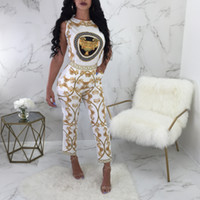 Wholesale totem pants - Summer Women's Sexy Casual Totem Sleeveless Pants Suits African Yellow Chain Printed O Neck Top and Nine Capris 2pcs Long Pant Sets