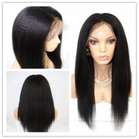 Wholesale kinky straight synthetic lace wigs - Wholesale 150%density light yaki kinky straight glueless synthetic lace front wig half hand heat resistant for black women&full lace wig