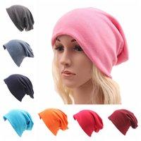 Discount crochet hats for children - 20 Colors Winter Warm Beanies Skull Hat Cotton Casual Plain Cap Unisex For Men Women Children Sports Headwear NNA540 20pcs