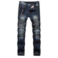 ingrosso jean stile sottile-Pantaloni da uomo a pieghe da uomo Newsosoo Pantaloni da uomo slim fit a coste in denim nero