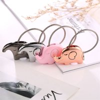 Wholesale unique elephant gifts - 1pcs Zinc Alloy Material Key Buckle Lovely Big Ear Elephant Design Keys Ring Lover Couple Unique Valentine Day Gift Keychain 3 8jh Z