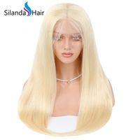 ingrosso parrucche piene piene del merletto-Silanda Hair Premium prezzo accessibile # 613 Parrucche piene del merletto del merletto dei capelli umani di Remy del brasiliano diritto diritto per le donne Trasporto libero