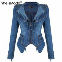 jeans de chaqueta denim de motorista al por mayor-She'sModa Jeans Denim Chaqueta de hombro acolchada para mujer Slim Fit Zipper Abrigo de invierno Moto Biker Chaquetas de cuero Negro