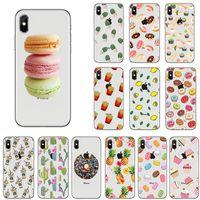Wholesale huawei phone cartoon case - for iphone X 5 6 7 8 plus phone case Cartoon fruit donut Macaron cupcake pattern Soft TPU back cover for Samsung huawei