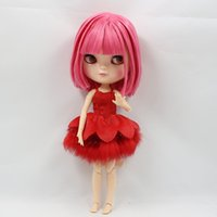 Wholesale nude dolls small - pink hair doll Free shipping Nude ICY Doll BL2476 short Pink hair azone body small chest shake head 1 6 toy gift