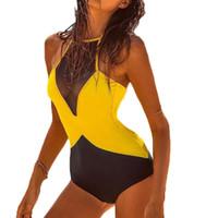 Wholesale Net S - 2018 New Siamese Net Yarn Bikini Set Women Swimsuit High Waist Surf Swim Retro Feminino Push Up Swimwear