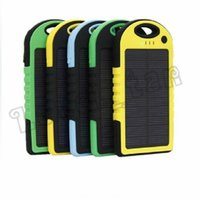 Wholesale mobile solar charger for laptop - 5000mAh solar power Charger and Battery solar panel waterproof shockproof Dustproof portable power bank for Mobile Cellphone Laptop Camera