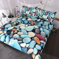 edredão azul laranja venda por atacado-Pedras da praia Jogo de Cama 3-Piece Colorido Capa de Edredão 3D Impresso Vivid Bed Set Rock Azul Vermelho Laranja Colchas