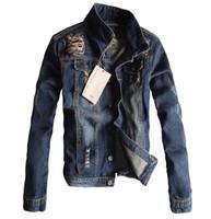 moda coreana al por mayor-S-5XL! chaqueta de mezclilla delgada agujero de ropa de primavera de la moda prendas de vestir exteriores de la motocicleta de Corea del tamaño de pus Trajes de teatro masculinos de nuevos hombres calientes
