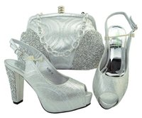 Wholesale green shoes matching bag - Silver Color Italian Shoe with Matching Bags Shoe and Bag Set for Party In Women Italian Matching Shoe and Bag Set with Rhinestone M006