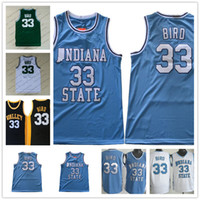Wholesale bird white - Indiana State Sycamores #33 Larry Bird Green Retro ISU Blue White Springs Valley High School Black Soul Swingman College Basketball Jersey