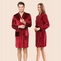 samt bademantel groihandel-Neue Paar Bademäntel, Bademäntel, Samt, Rot, Hochzeit, Schlafanzug, Herbst Winter Bräute Robe