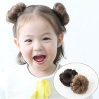 extensiones de peluca rizada al por mayor-Nuevo 2 Unids Dulce Bebé Niñas Curly Natural Hairpiece Clip Wig Hair Ring Bun Herramienta de Extensión Del Pelo oc27