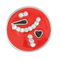 el yapımı aşk düğmesi toptan satış-20 adet / grup Yeni sıcak satış 3 renk diy el yapımı seni Seviyorum yuvarlak Yapış Düğmeler Fit 18mm / 20mm DIY Yapış Bilezik Rhinestone Taş Düğmeler Takı