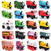 ingrosso i migliori bambini giocano le automobili-Piccoli treni di legno magnetico del fumetto del giocattolo 48 stili del sacchetto del opp Treni amici TrainsCar Toys Bus Miglior Natale Thomas Diecast Modello Giocattoli per bambini