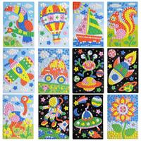 eva 3d puzzle großhandel-30 Stücke Großhandel Kinder Exquisite EVA Handgemachte Kristall Diamant Und Papier Aufkleber Paste Malerei Mosaik 3D Puzzle Spielzeug Für Kinder