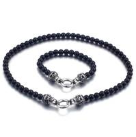 ingrosso set nero del braccialetto della collana del branello-Moda perline maschili neri set in acciaio inox punk cranio catenaccio collana di perline chocker set di gioielli per uomini freddi
